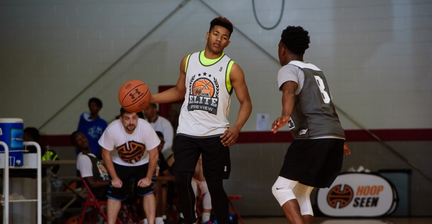 Travis Anderson Dribbles the basketball at the Elite Preview