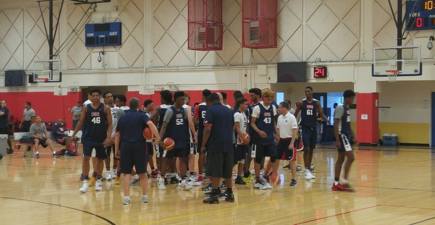 Markelle Fultz and Quade Green during the first night session of the USA U18 trials in Colorado Springs.